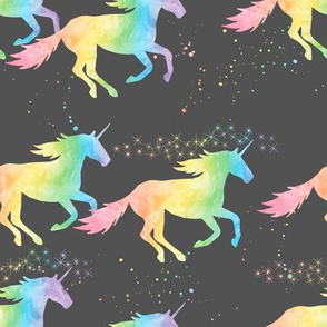 watercolor unicorns - pastel rainbow on dark grey
