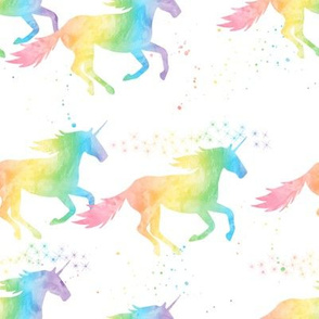 watercolor unicorn - pastel rainbow