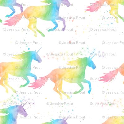 (small scale) watercolor unicorn - pastel rainbow