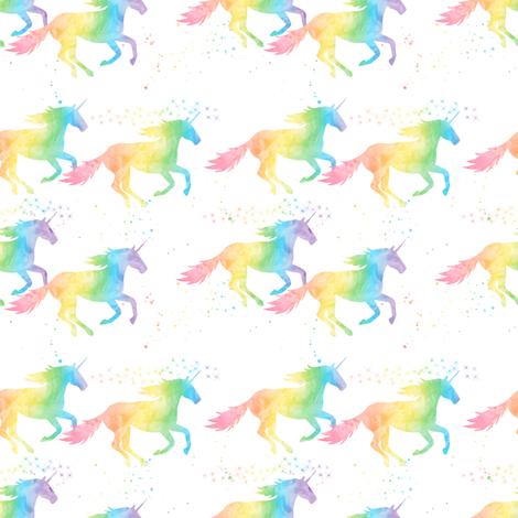 (small scale) watercolor unicorn - pastel rainbow fabric by littlearrowdesign on Spoonflower - custom fabric