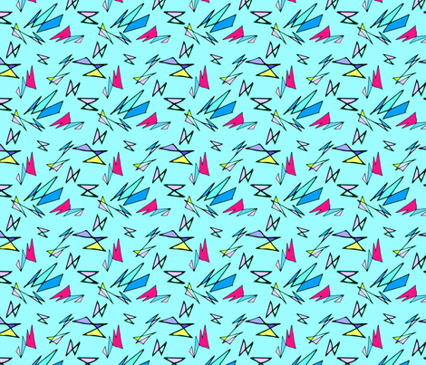 Wacky 80s//BLUE//Geo Pattern #3 fabric by hleemessina on Spoonflower - custom fabric