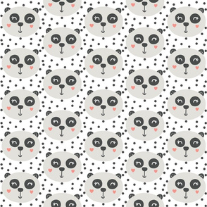 Sweet Pandas on White - Monochrome Panda - Nursery Decor - Baby Bedding - Panda Hearts