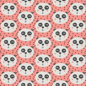 Panda on Pink Coral - Panda Bear