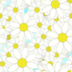 Lots of Daisies on Blue