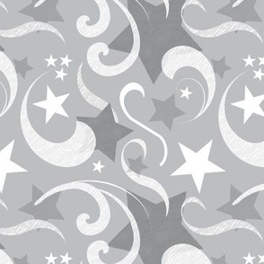 Gray Stars & Swirls Pattern