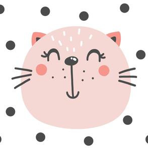 Pink Cat Blanket - 36x42 - Kitten Blanket - Wholecloth Blanket