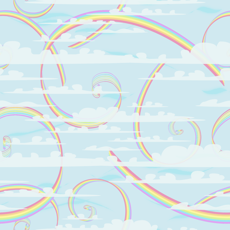 Pastels Rainbow Swirls with Clouds fabric by whiterosespatterns on Spoonflower - custom fabric