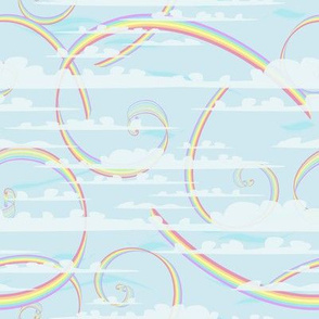 Pastels Rainbow Swirls with Clouds