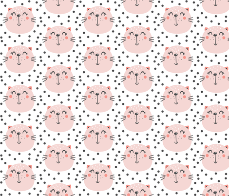 Pink cat on white - pink kitten  fabric by modfox on Spoonflower - custom fabric