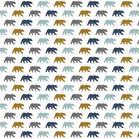 (micro print) multi bear - blue gold navy fabric by littlearrowdesign on Spoonflower - custom fabric