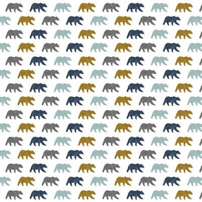 (micro print) multi bear - blue gold navy