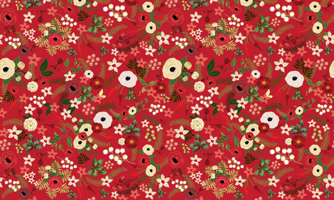 Vintage Christmas Floral Red  fabric by twodreamsshop on Spoonflower - custom fabric