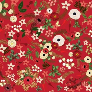 Vintage Christmas Floral Red