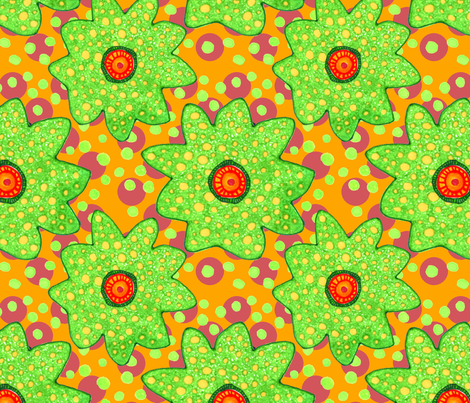 Blooms & Dots in Orange fabric by studiosarcelle on Spoonflower - custom fabric