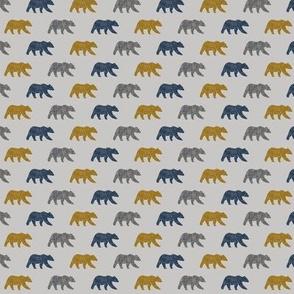(micro print) multi  bears on grey