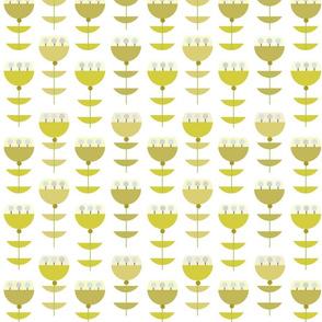 olive goblet flowers mod