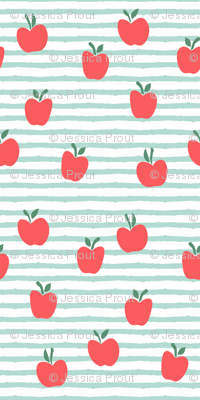 (micro scale) apple picking - on dark mint stripes