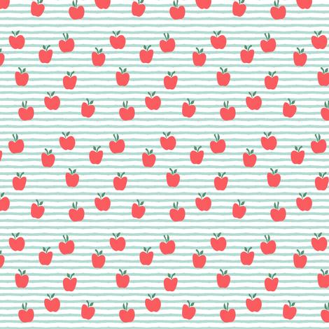 (micro scale) apple picking - on dark mint stripes fabric by littlearrowdesign on Spoonflower - custom fabric