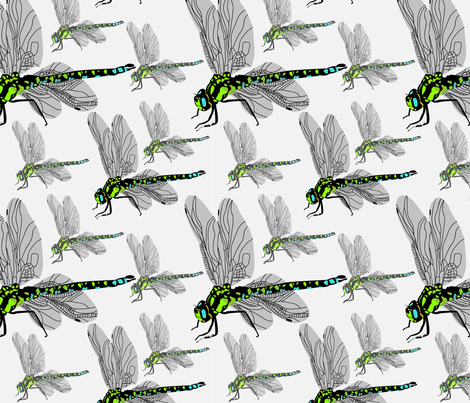 Green Darner Dragonflies Faded fabric by alyceanndesigns on Spoonflower - custom fabric