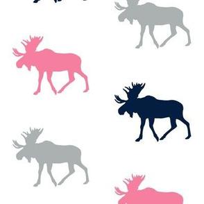 multi moose || pink navy grey on white