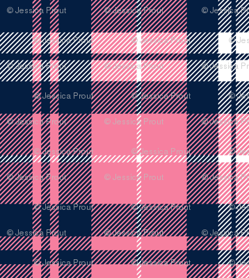 fall plaid    hot pink and navy