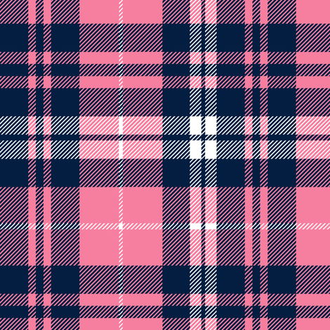 fall plaid    hot pink and navy fabric by littlearrowdesign on Spoonflower - custom fabric
