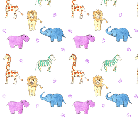 Safari Zoo Animals large fabric by dreamoutloudart on Spoonflower - custom fabric