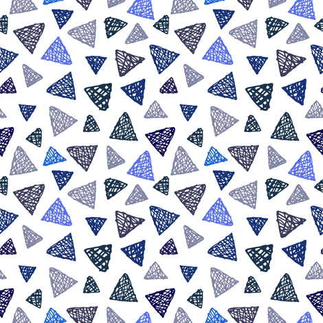Geometric Blues on White  fabric by mariamsol on Spoonflower - custom fabric