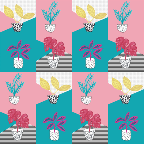 Memphis Style Pot Plans Design Challenge Entry fabric by suzzincolour on Spoonflower - custom fabric