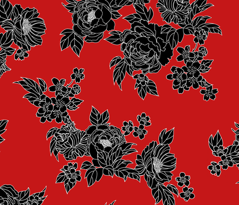Havana Floral - Red fabric by meganpalmer on Spoonflower - custom fabric
