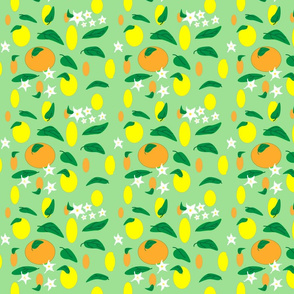 Citrus_fruit_and_flowers_on__green