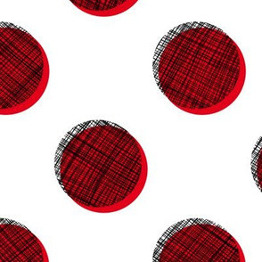 Woven Dots - Black and Red on White
