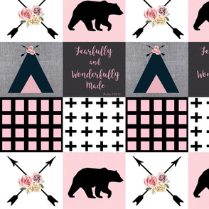 Pink and navy fearfully made wholecloth