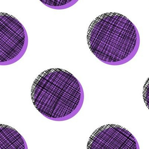 Woven Dots - Black and Purple on White