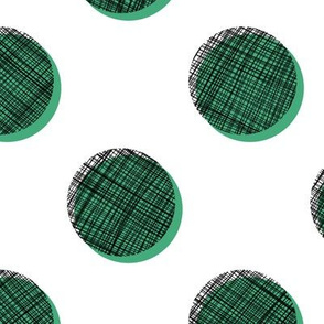 Woven Dots - Black and Green on White