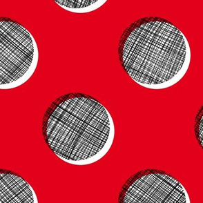 Woven Dots - Black and White on Red