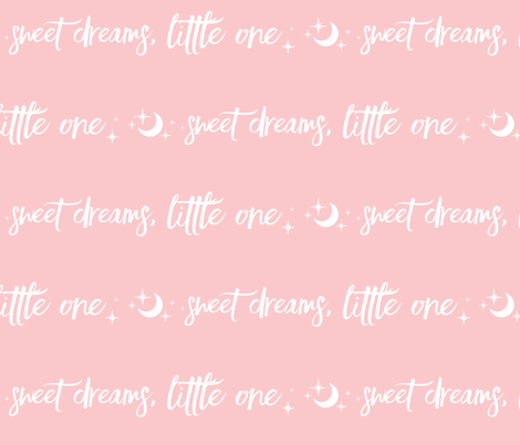 Sweet Dreams Little One, moon and stars - white on pink -  nursery, baby girl fabric by sugarpinedesign on Spoonflower - custom fabric