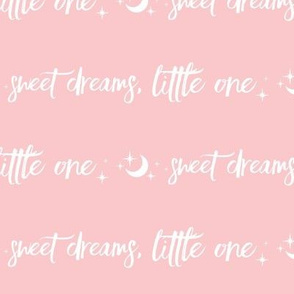 """8.5"""" Sweet Dreams Little One - White on Pink - Moon and Stars"""