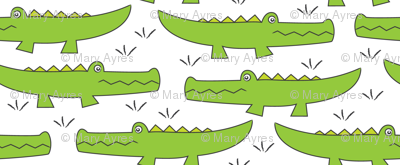 lime green gators on white