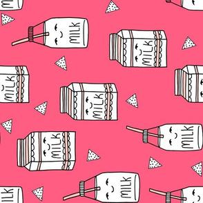 milk fabric // bright pink cute hand-drawn kids illustration railroad