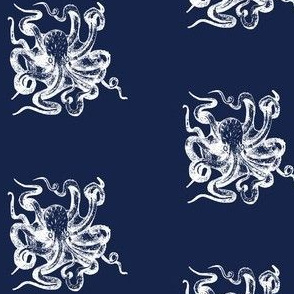 White octopus on navy sea creature boys room powder room nautical