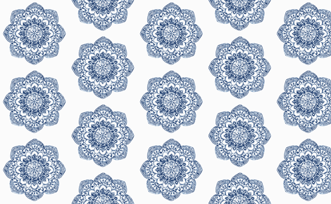 Indian Block Print Medallion Fabric Navy Blue fabric by jenlats on Spoonflower - custom fabric