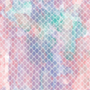 watercolor mermaid scales rotated