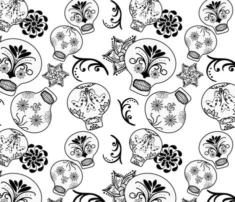 Skulls_B_W_1-square-01 fabric by josarrah on Spoonflower - custom fabric