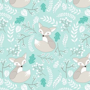 Gray Fox - Sleepy Foxes (crystal) Baby Nursery Woodland Animals Kids Childrens Bedding CR2