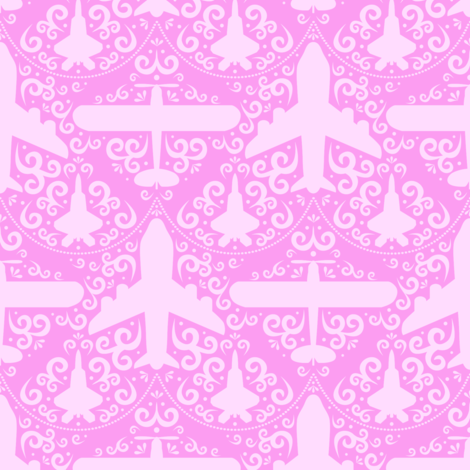 Aircraft Damask (Pink) fabric by robyriker on Spoonflower - custom fabric