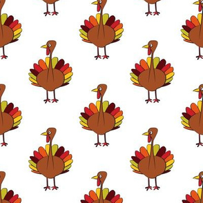 turkey on white - thanksgiving fabric