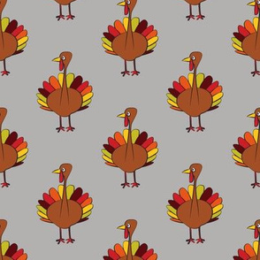 turkey on grey - thanksgiving fabric