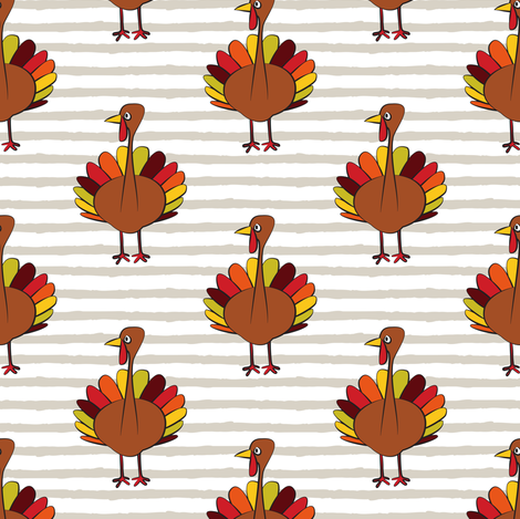 turkey on stripes - thanksgiving day  fabric by littlearrowdesign on Spoonflower - custom fabric