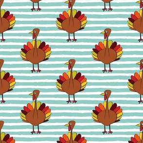 turkey on stripes - thanksgiving